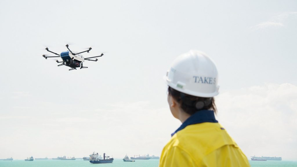 Wilhelmsen and Airbus trialled the first commercial delivery to a ship by drone in March 2019. Credit: Wilhelmsen